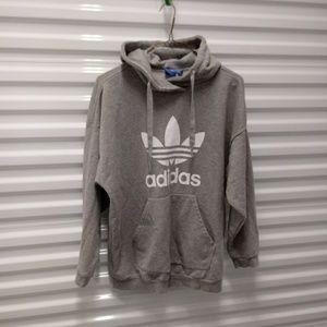Adidas Womens Trefoil Logo Hoodie Gray Jacket XL